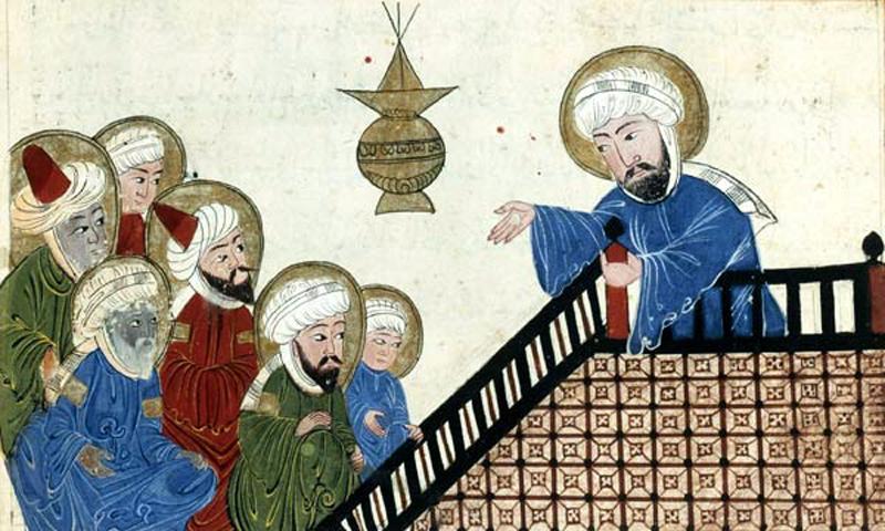 Mahoma predicando El Corán en La Meca