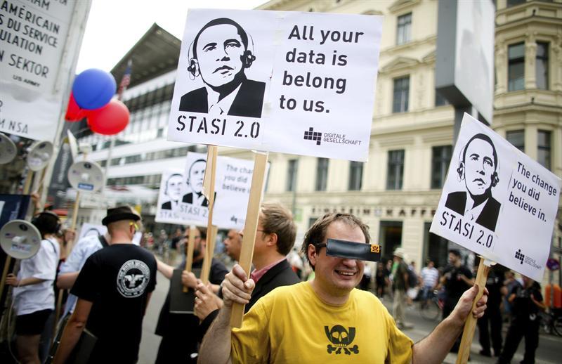 Ciudadanos alemanes protestas en Berlín por el espionaje de EE.UU. ©AFP